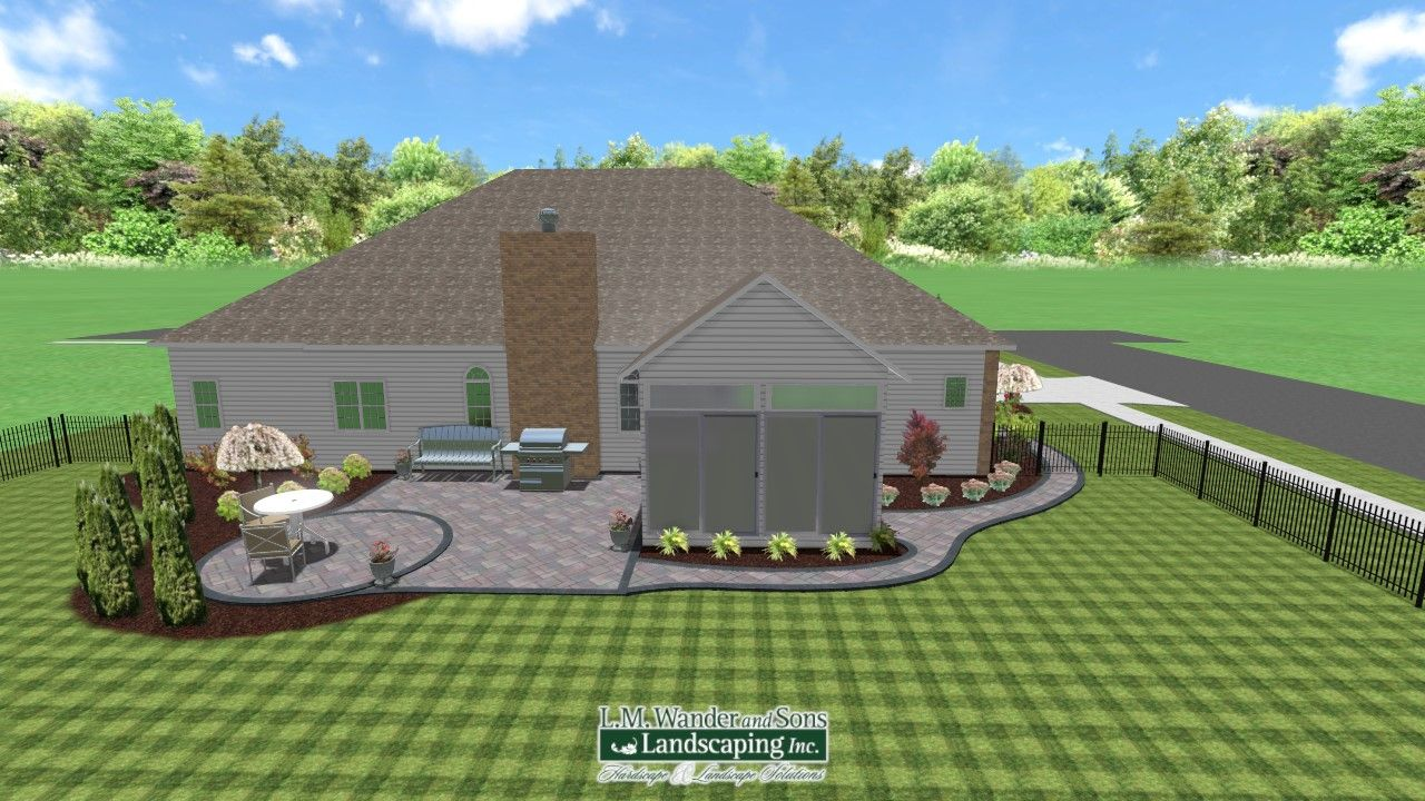 Back Yard Patio With Walkway And Landscaping Design Realtime Landscape Architect By Sean Du Landscape Design Software Landscape Design Landscape Architect
