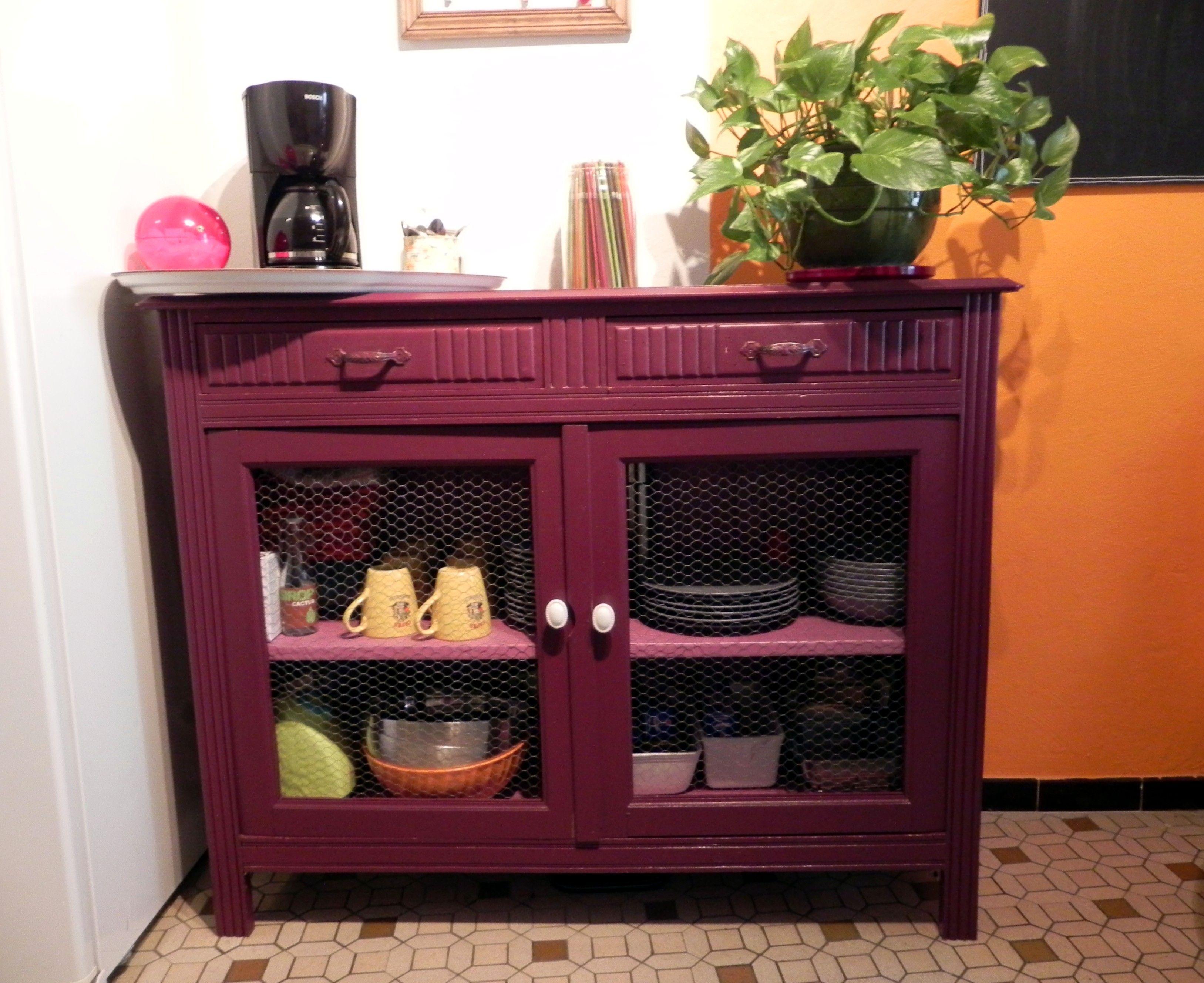 Buffet de cuisine transform en vaisselier relooking de meubles cabinet furniture et armoire - Relooking vieux meubles ...