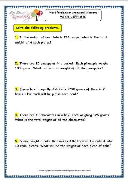 Grade 3 Maths Worksheets: (12.8 Word Problems on Multiplication and ...