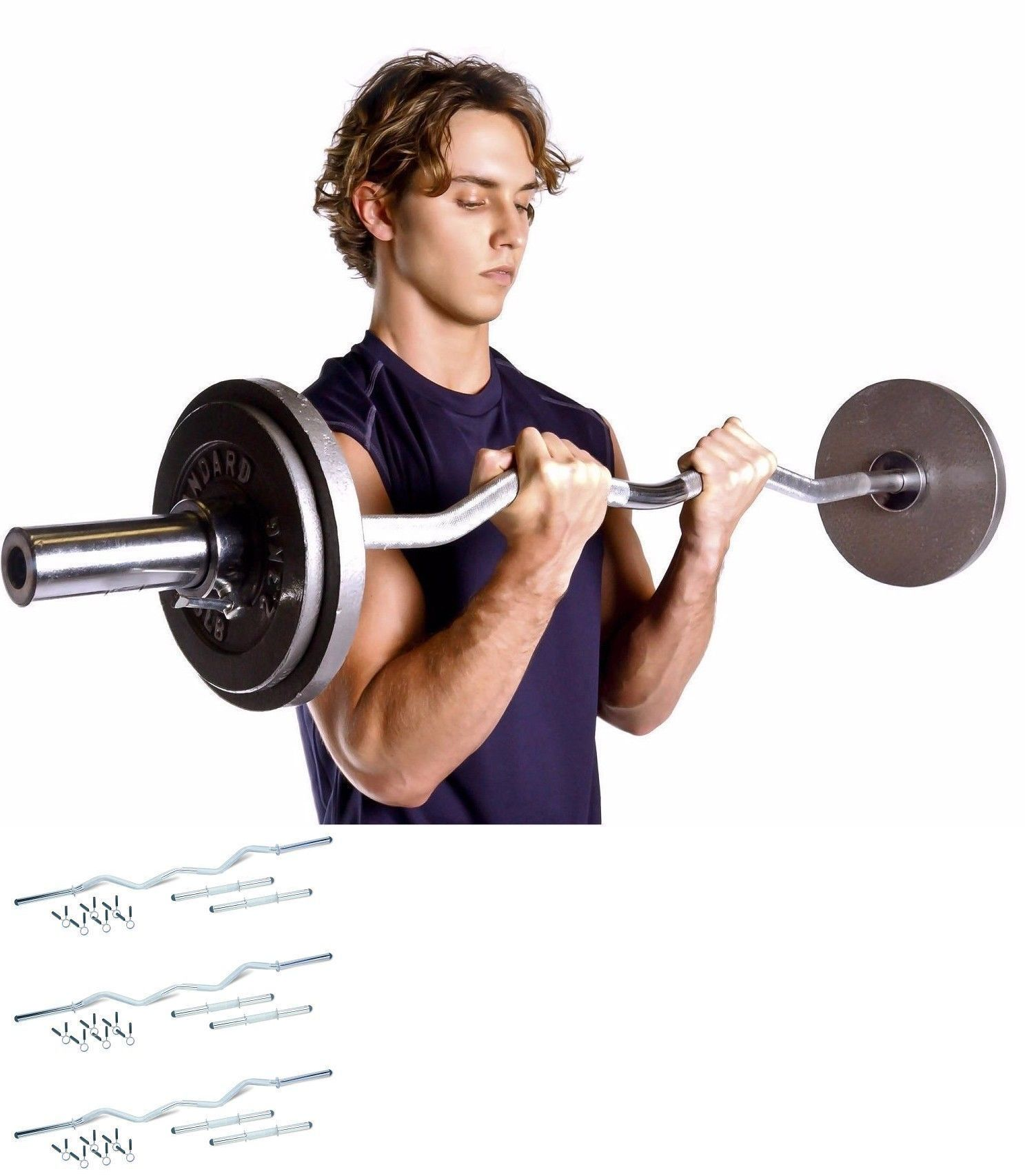 Barbells And Attachments 137864 Workout Training Curl Bar Set Dumbbell Combo Exercise For Women Men