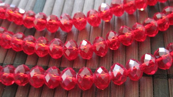 8 Long36 Pieces Red Chinese Crystal 8mm Faceted by carriegems, $2.00
