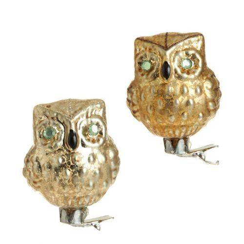 Clip-On Glass Owl Ornament