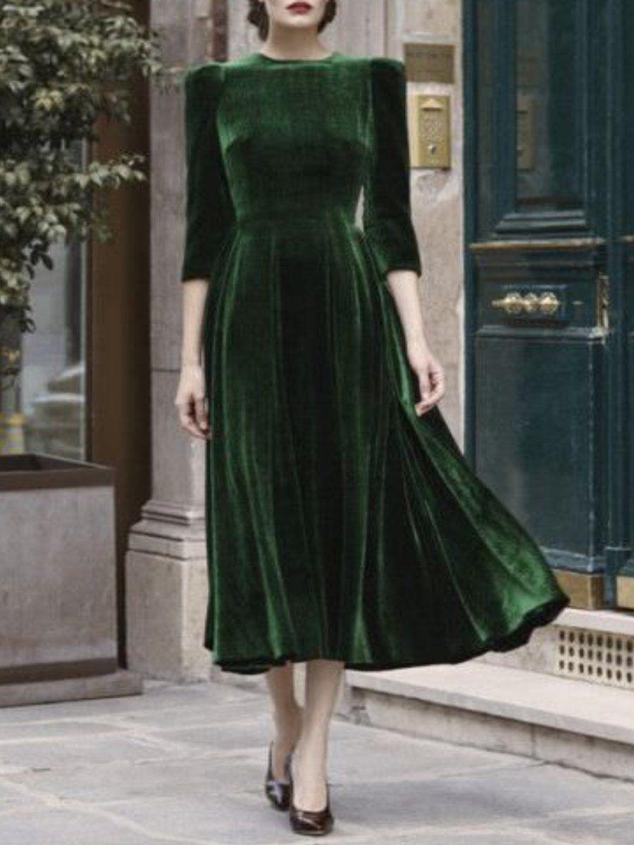 Army Green Vintage Velvet Dress Vintage Velvet Dress Velvet Midi Dress Velvet Fashion [ 1200 x 900 Pixel ]