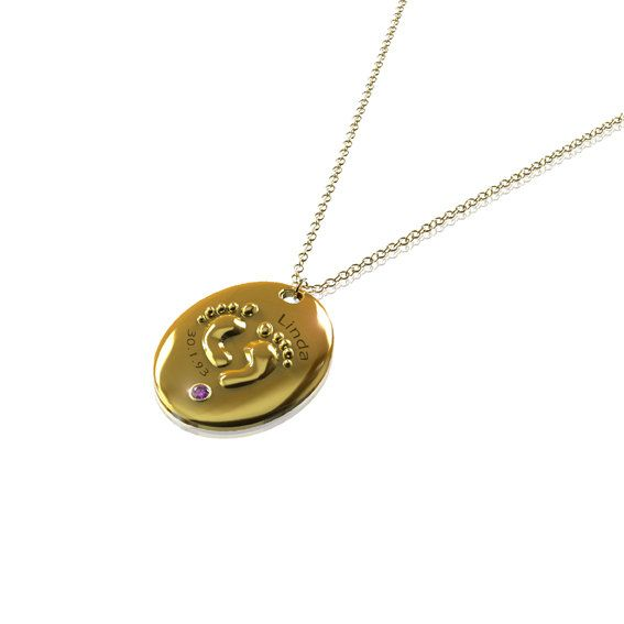 Mothers Day Gift  Babys Birth Necklace in 24K Gold by JonJonJewel, $70.00