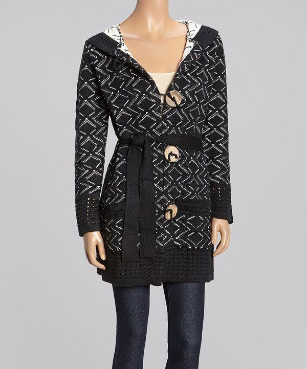 Look at this #zulilyfind! Black & White Geometric Hooded Cardigan ...