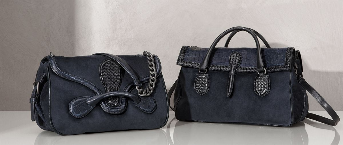 #BottegaVeneta Dark Navy Suede Souple Rialto Bag, Dark Navy Suede Cocco Souple Bag