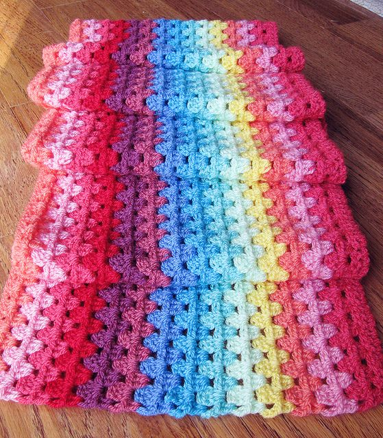 Granny stripe progress by The Curious Pug, via Flickr