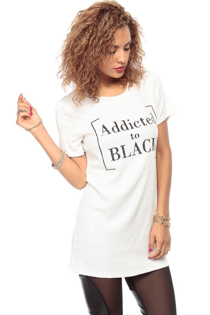 11e8b74963e06 Addicted To Black Sequin White Tunic @ Cicihot Top Shirt Clothing Online  Store: Dress Shirt,Sexy Womens Shirt,T Shirts,Corset Dress,White T Shirt,Girl  T ...
