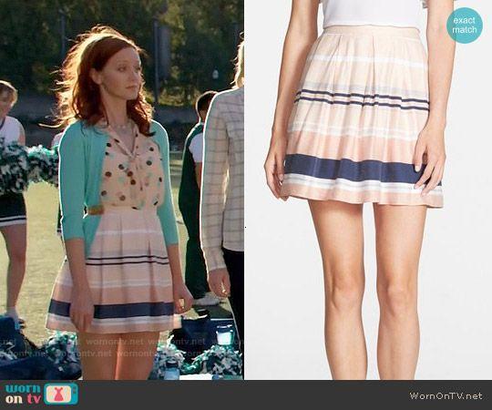 3e00de1c92 Cassandra s striped skirt on The Librarians. Outfit Details  http   wornontv .