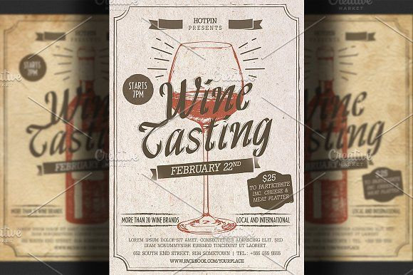 Wine Tasting Flyer Template by Hotpin on @creativemarket Print - Invitation Flyer Template