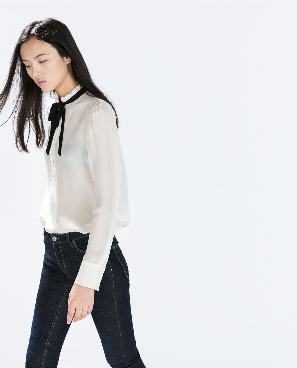 a8811036 Image 3 of CONTRAST TIE-NECK SILK BLOUSE from Zara | Sumi loves ...