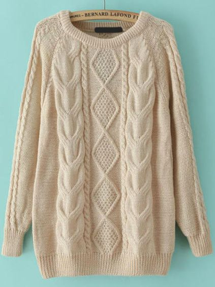 Cable Knit Loose Apricot Sweater Mobile Site | Winter | Pinterest ...