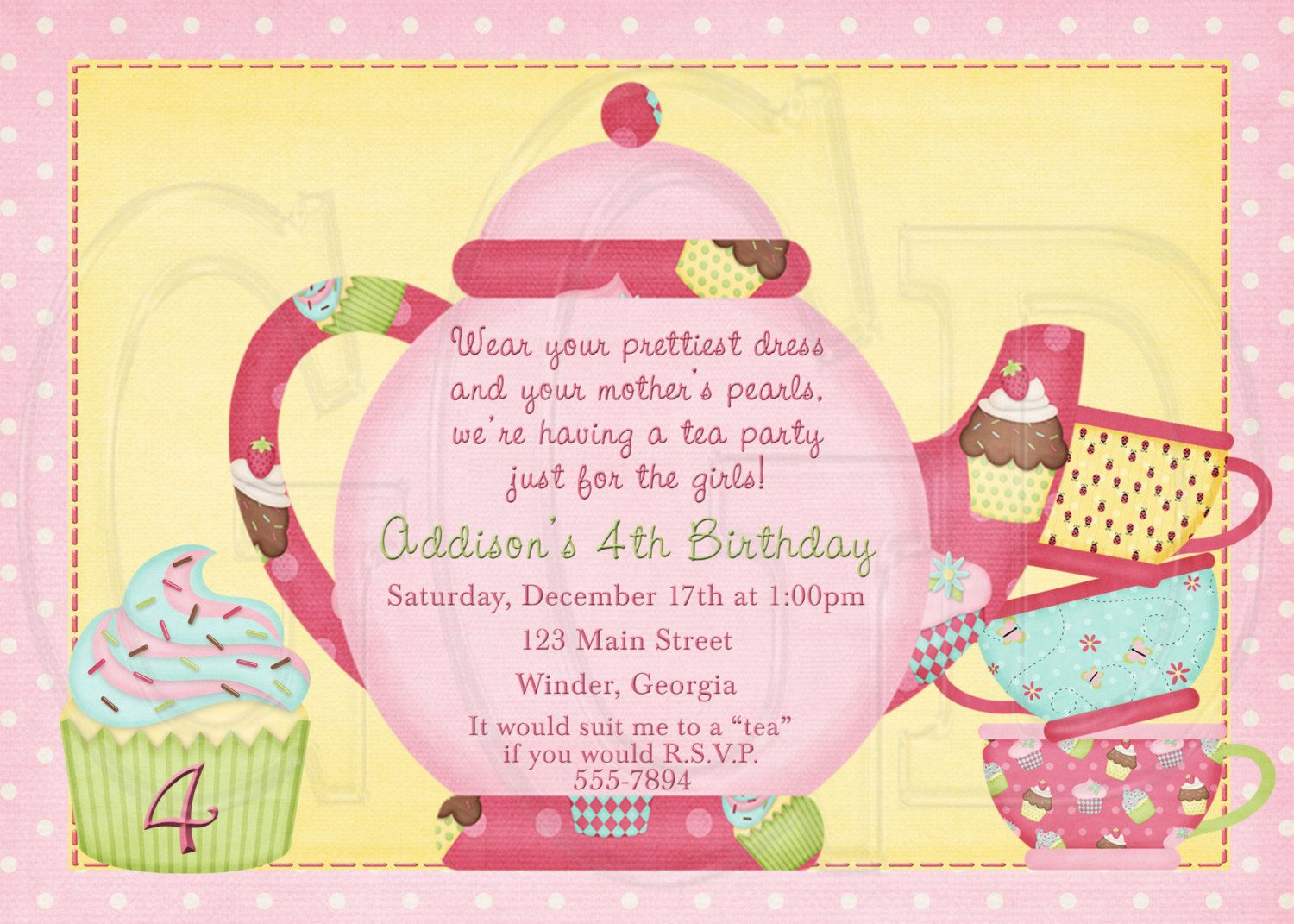 Tea Party Invitation Birthday Dress-up Party | Parties | Pinterest ...