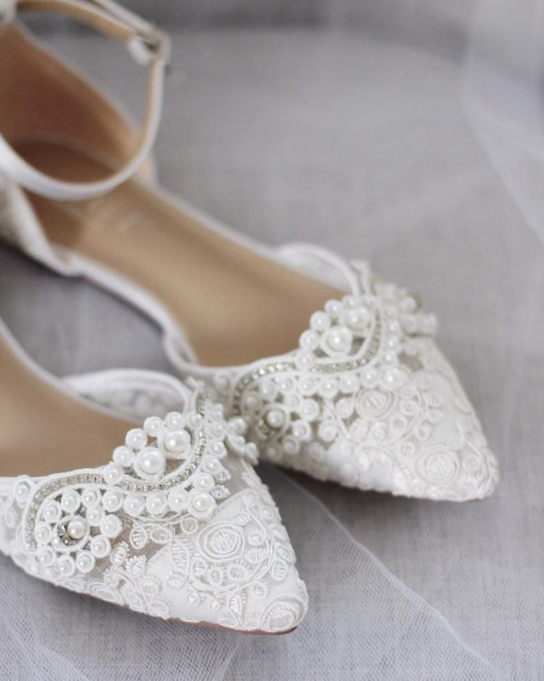 White Crochet Lace Pointy Toe Flats With Pearls Applique Women