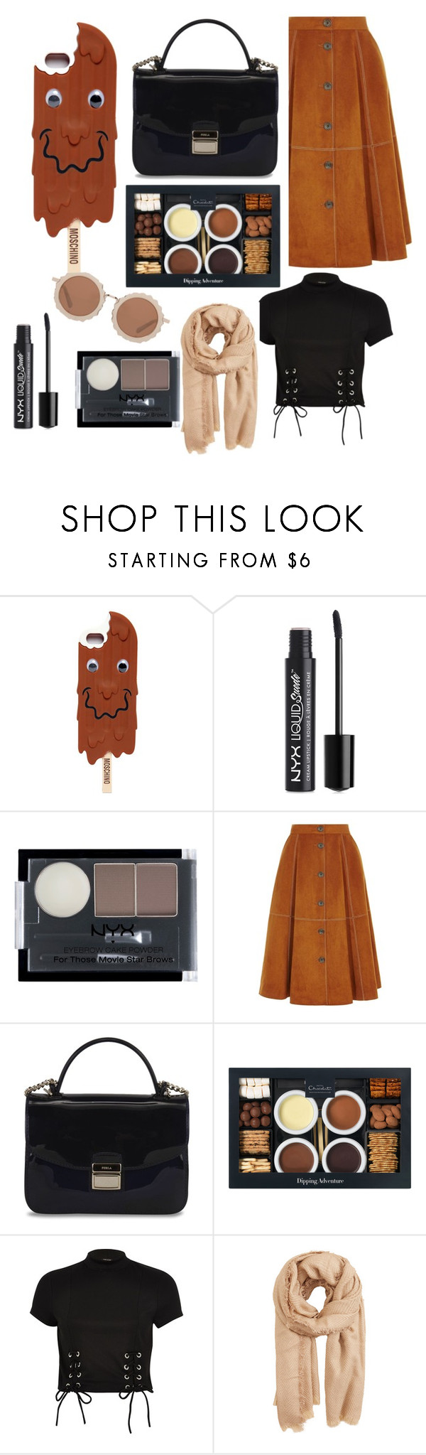 """""""chocolate"""" by azaleamorris ❤ liked on Polyvore featuring Moschino, NYX, Karen Millen, Furla, River Island, MANGO and House of Holland"""