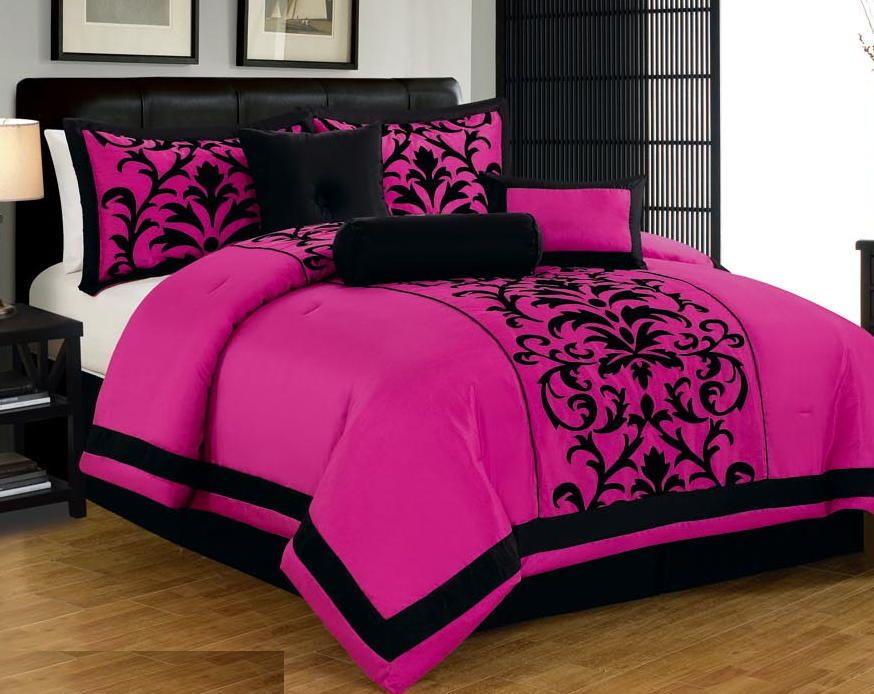 7 Pc Pink Black Luxury Flocking Comforter Set Queen Size