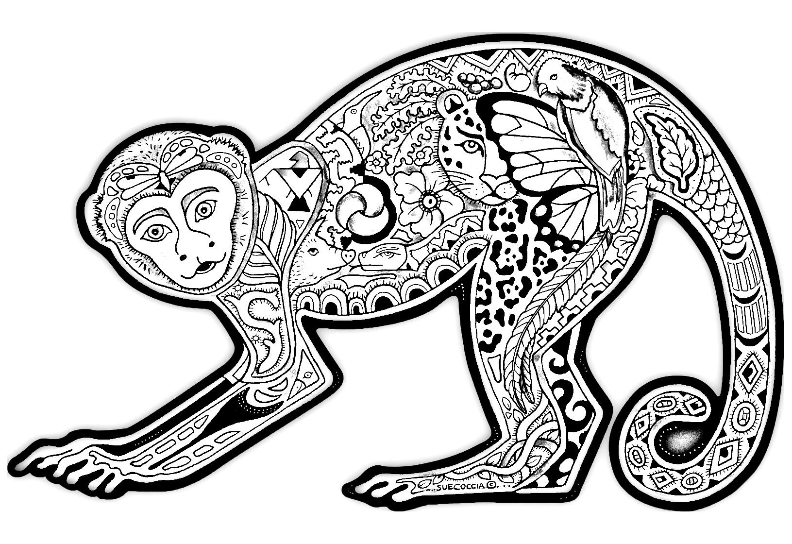 Free Coloring Page Coloring Drawing Monkey A Funny Monkey