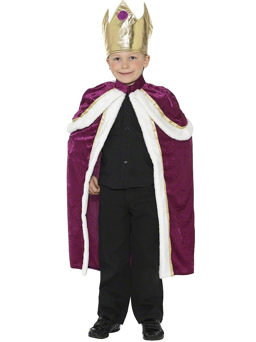 Halloween King Cape Robe Fancy Dress Up Costume Children Boys Royal Cloak Outfit