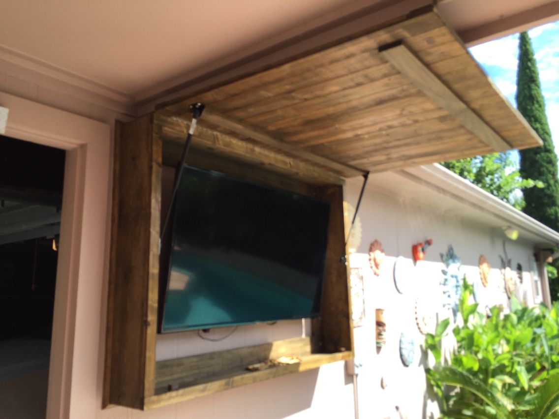 Gas Struts Installed Outdoor Tv Case Outdoor Tv Cabinet