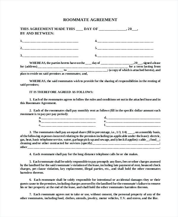 Roommate Lease Agreement Template House Rules For Roommates