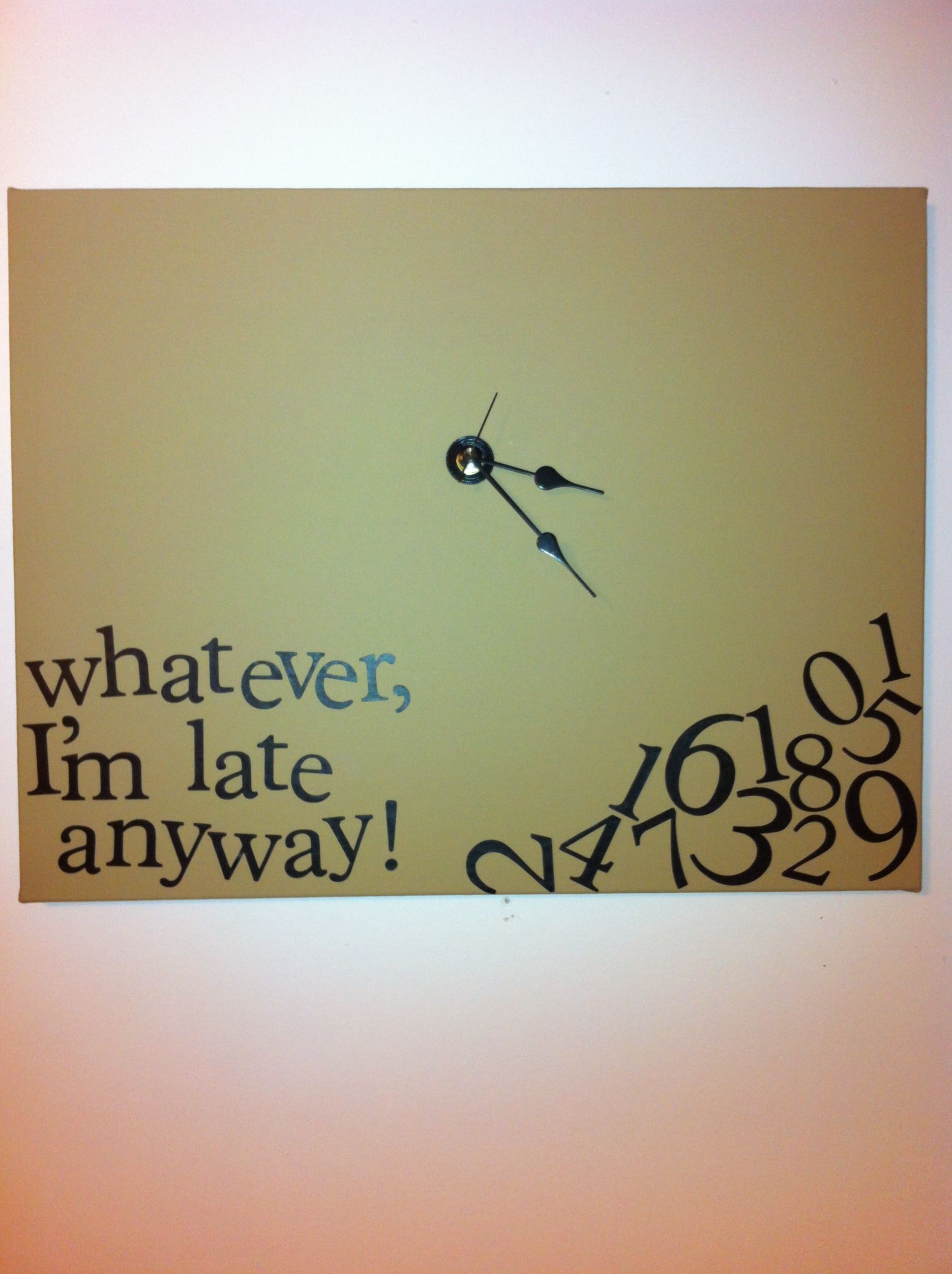 diy whatever clock canvas and clock kit from michael s painted it