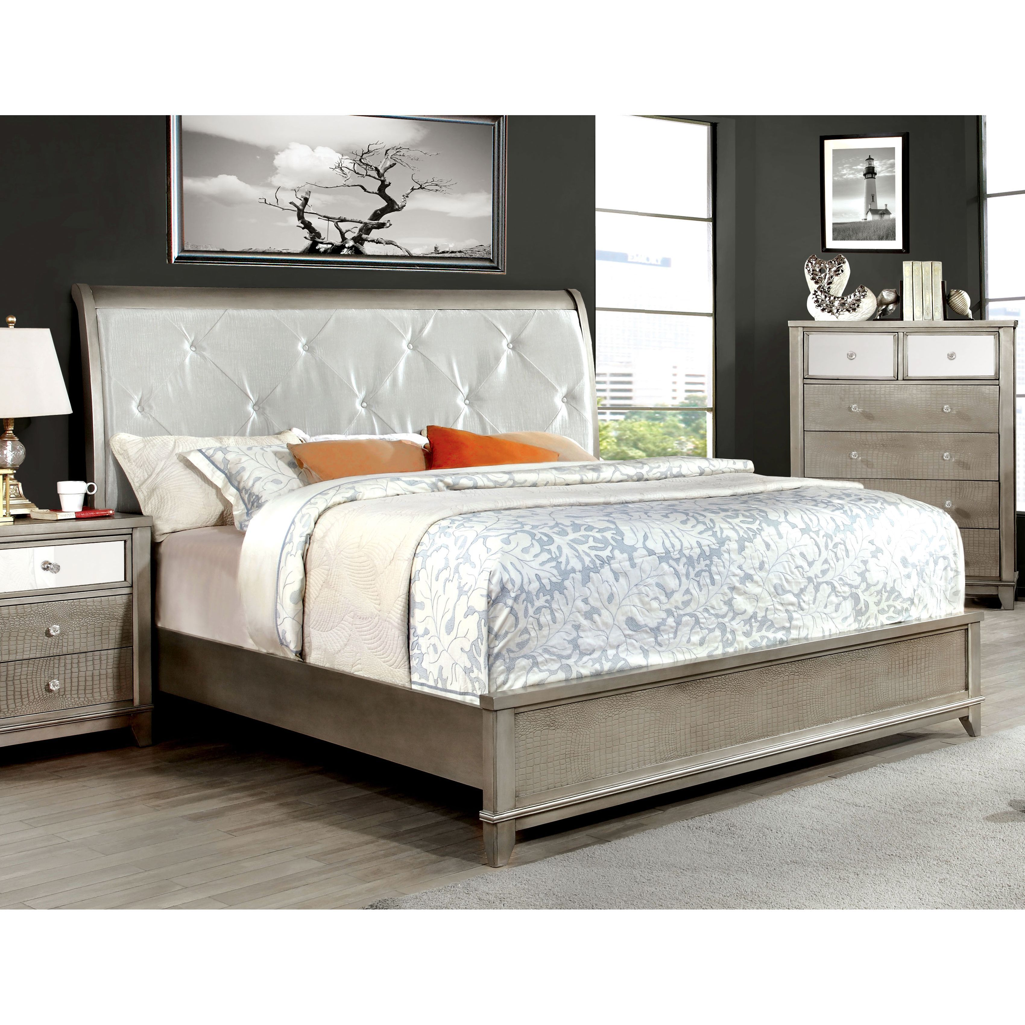 furniture of america divonne modern crocodile silver platform bed by