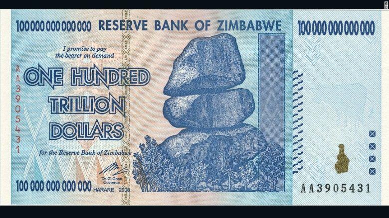 The Worthless 100 Trillion Dollar Bank Note Zimbabwean Dollar
