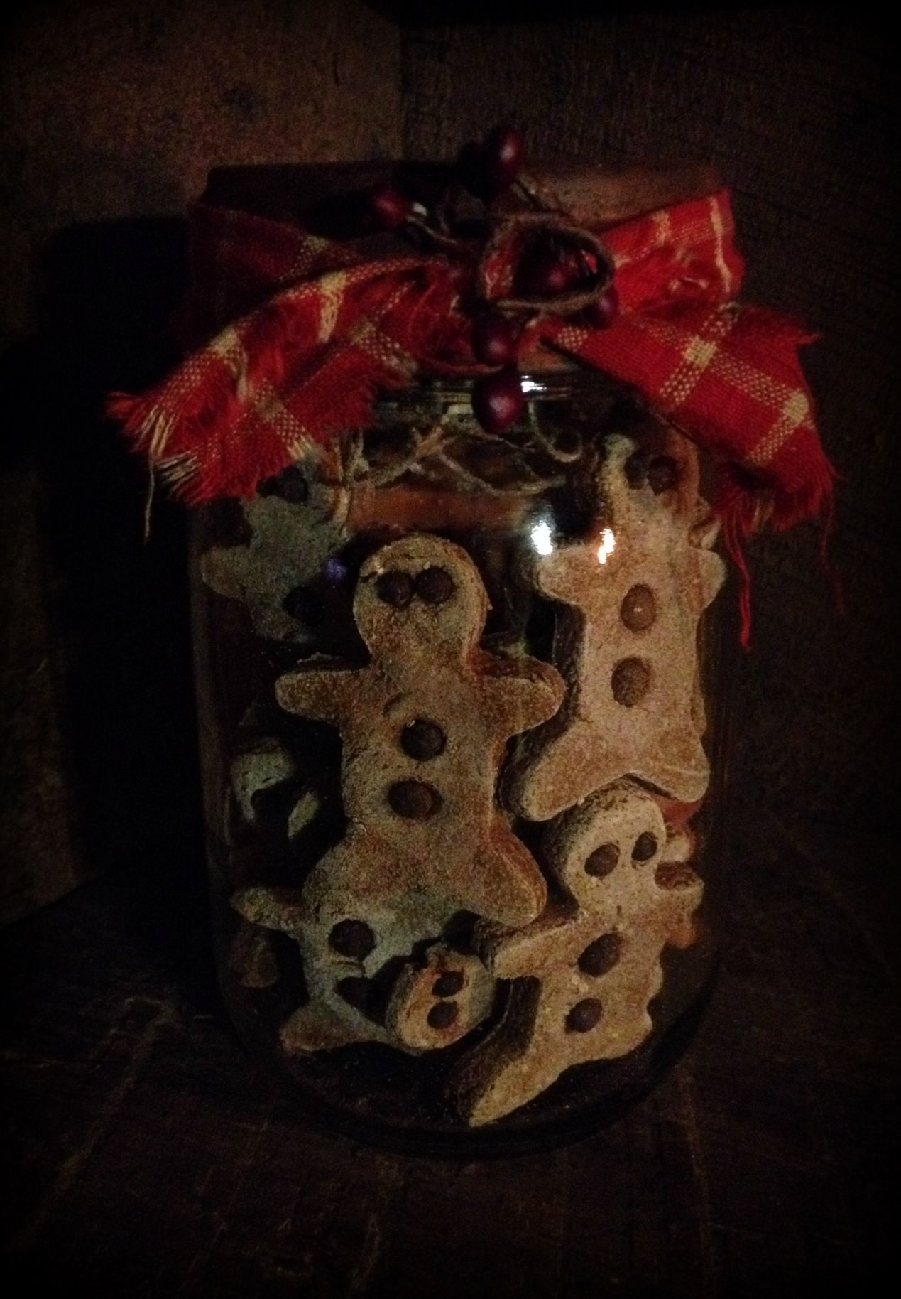 Salt dough gingers I made and put in a jar for a Christmas display.  By ye olde crow primitives