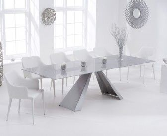 Leon 180cm Light Grey Glass Extending Dining Table with