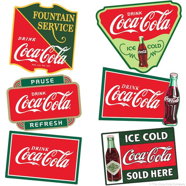 CocaCola Soda Vinatge Fishtail Look Metal Sign Coke Fountin Advertisng