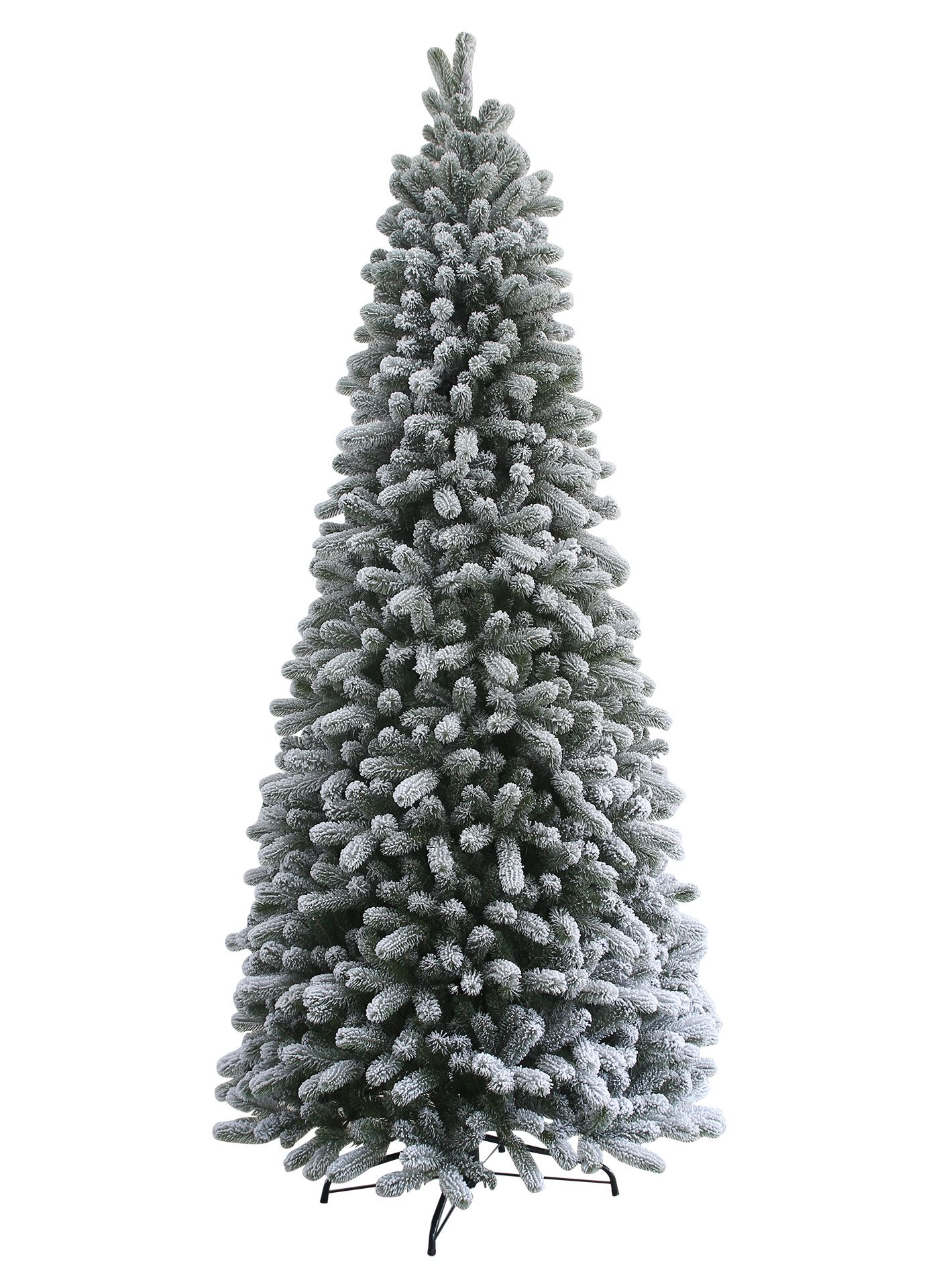 6.5 Foot King Flock Slim Artificial Christmas Tree with ...