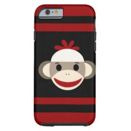 caseCute Smiling Sock Monkey Face on Red Blackcase iPhone 6 Case