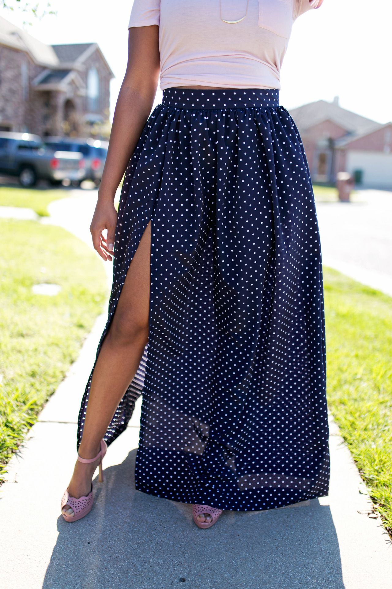 Waisted High maxi skirt with split pictures best photo