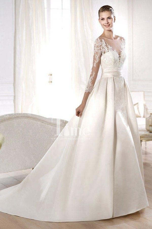 bdcf07056bb Three Quarter Sleeves High Neck Tulle White Ivory Satin Princess Wedding  Dresses WD149850
