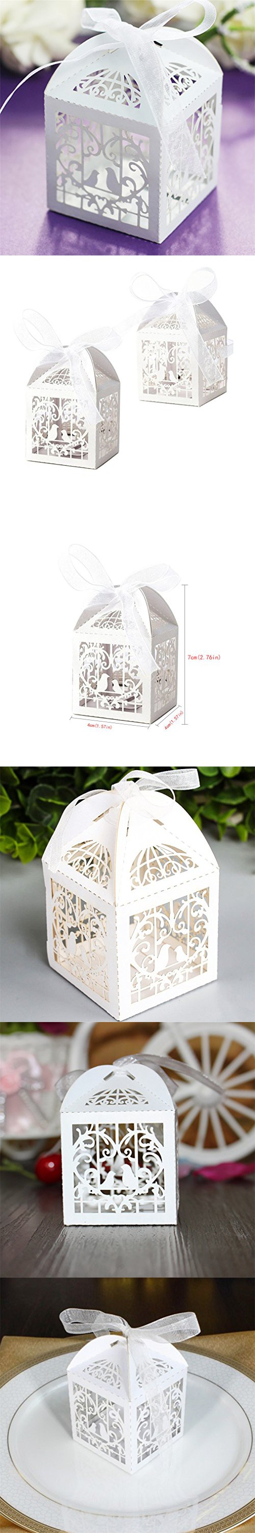 Amytalk 50 Pcs Laser Cut Wedding Favors Candy Boxes Pearl Paper ...