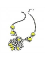 Hematite Grey Colour Neon Yellow Acrylic Bead Chain Necklace N28316