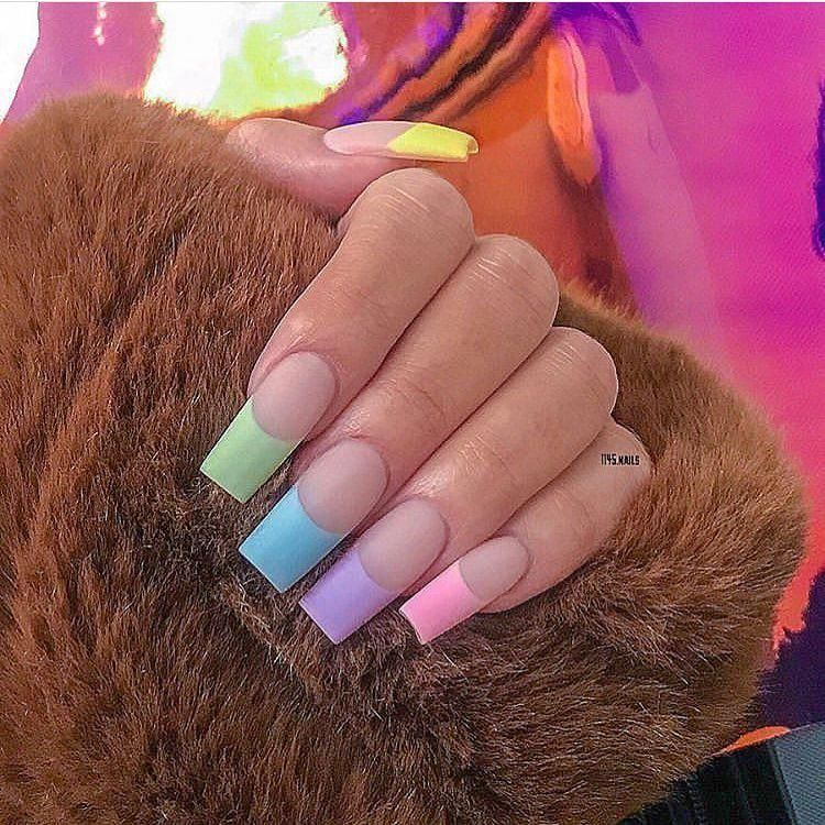 The Baddest Nails On Instagram Colorful French Tips Frenchtipnails Frenchtips Rainbownails Nailf Colored Nail Tips Pretty Acrylic Nails Kylie Nails