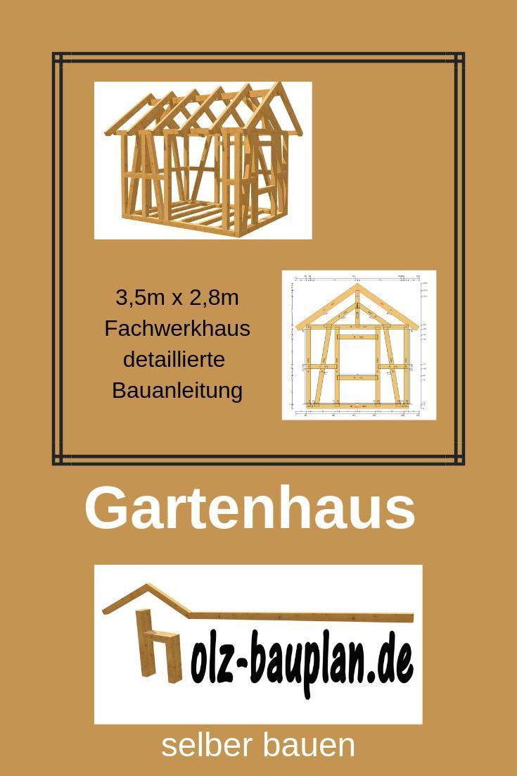Holzhütte bauen 3,5m x 2,8m Holzschuppen selber bauen