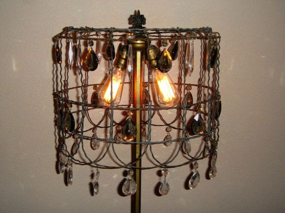 Vintage garden fence crystal chandelier lamp shade edison steampunk vintage garden fence crystal chandelier lamp shade edison steampunk rustic crystal chandelier upcycled lighting western chandelier aloadofball Image collections