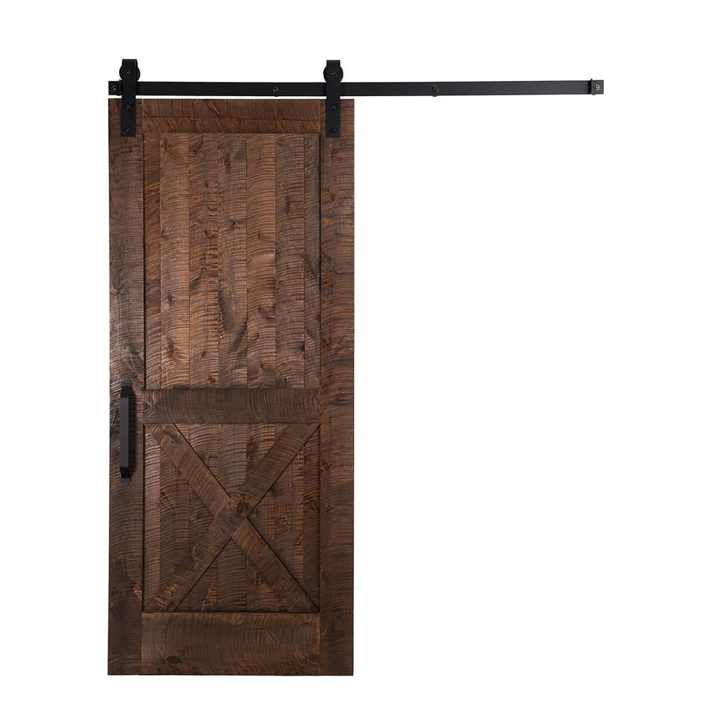 Rustica Hardware 36 In X 96 In Unassembled Rockwell Barn Door With Stag Sliding Hardware Kit And Falc With Images Wood Barn Door Barn Doors Sliding Sliding Door Hardware