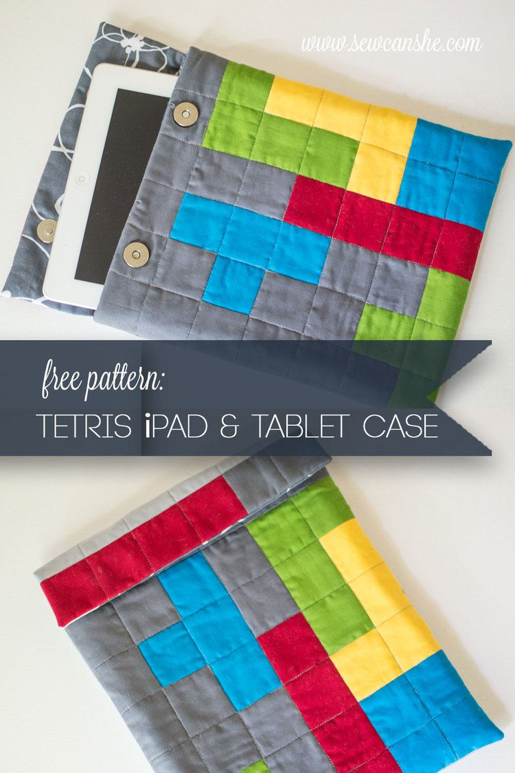 Tetris themed iPad and Tablet Case {free pattern}