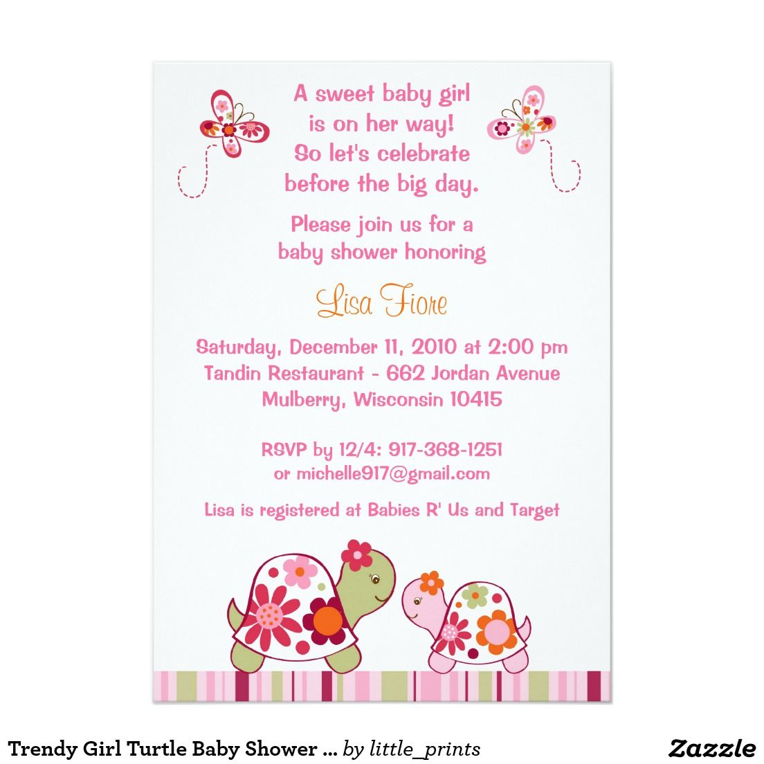 Trendy Girl Turtle Baby Shower Invitations | Cute Girly Girl Baby ...