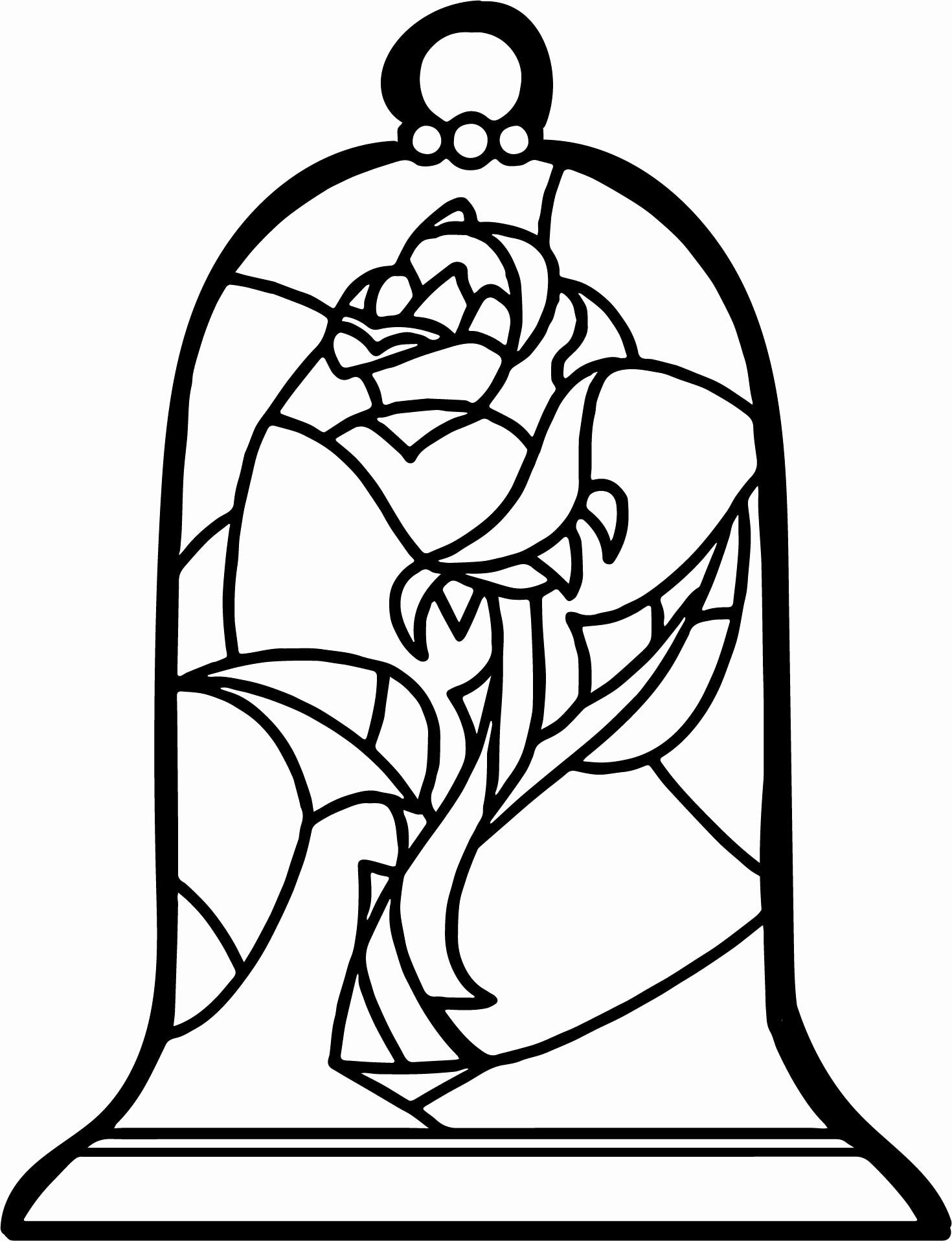 28 Beauty And The Beast Stained Glass Coloring Page In 2020 Rose