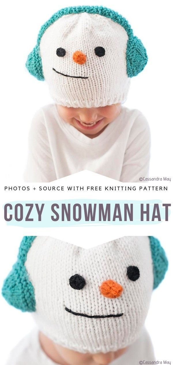Cozy Snowman Hat Free Knitting PatternThis cute knitted winter beanie will undoubtedly bring your children so much Christmas joy! And brighten up every room they appear in! Make some cozy hats for your little ones and watch them become best friends with Mr. Snowman.#knittedhat #christmashat #snowmanhat