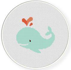 Love Whale Cross Stitch Pattern | c r a f t | Cross stitch