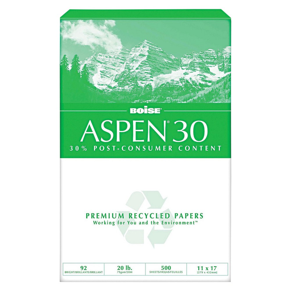 Boise Aspen 30 Recycled Office Paper 92 Bright 20 Lb White 2500 Per Carton Office Paper Laser Paper Paper Case
