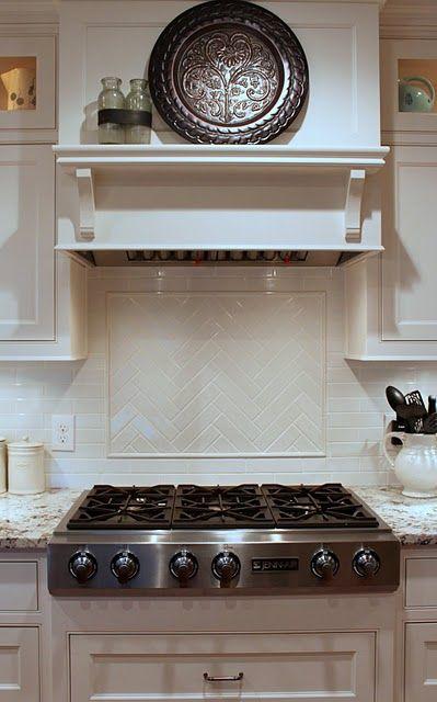 range with crankled subway tile backsplash Kitchen Pinterest