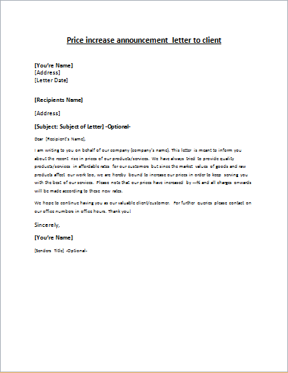 Price increase announcement letter to client letter for New service announcement template