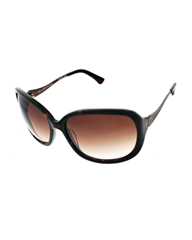 f533d8ea5d1a O by Oscar De La Renta Rounded Rectangle Havana Acetate Sunglasses,  Tortoise (Green), Women's