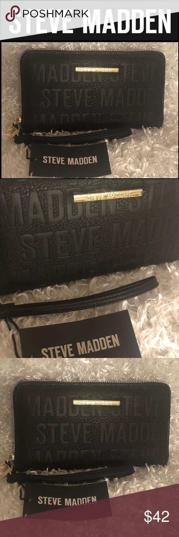 Steve Madden Blk Gold Bzip Zip Around Wallet Steve Madden Steve Madden Bags Zip Around Wallet